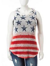 Justify Juniors-plus American Flag Hoodie Top