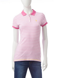 U.S. Polo Assn. Pink & White Striped Polo Top