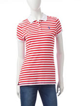 U.S. Polo Assn. Red & White Stripe Print Polo Top