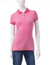 U.S. Polo Assn. Magenta & White Striped Print Polo Top
