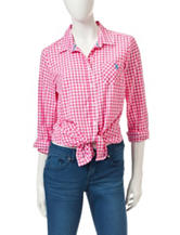 U.S. Polo Assn. Gingham Print Tie Front Top