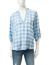 Wishful Park Blue & White Plaid Print Top