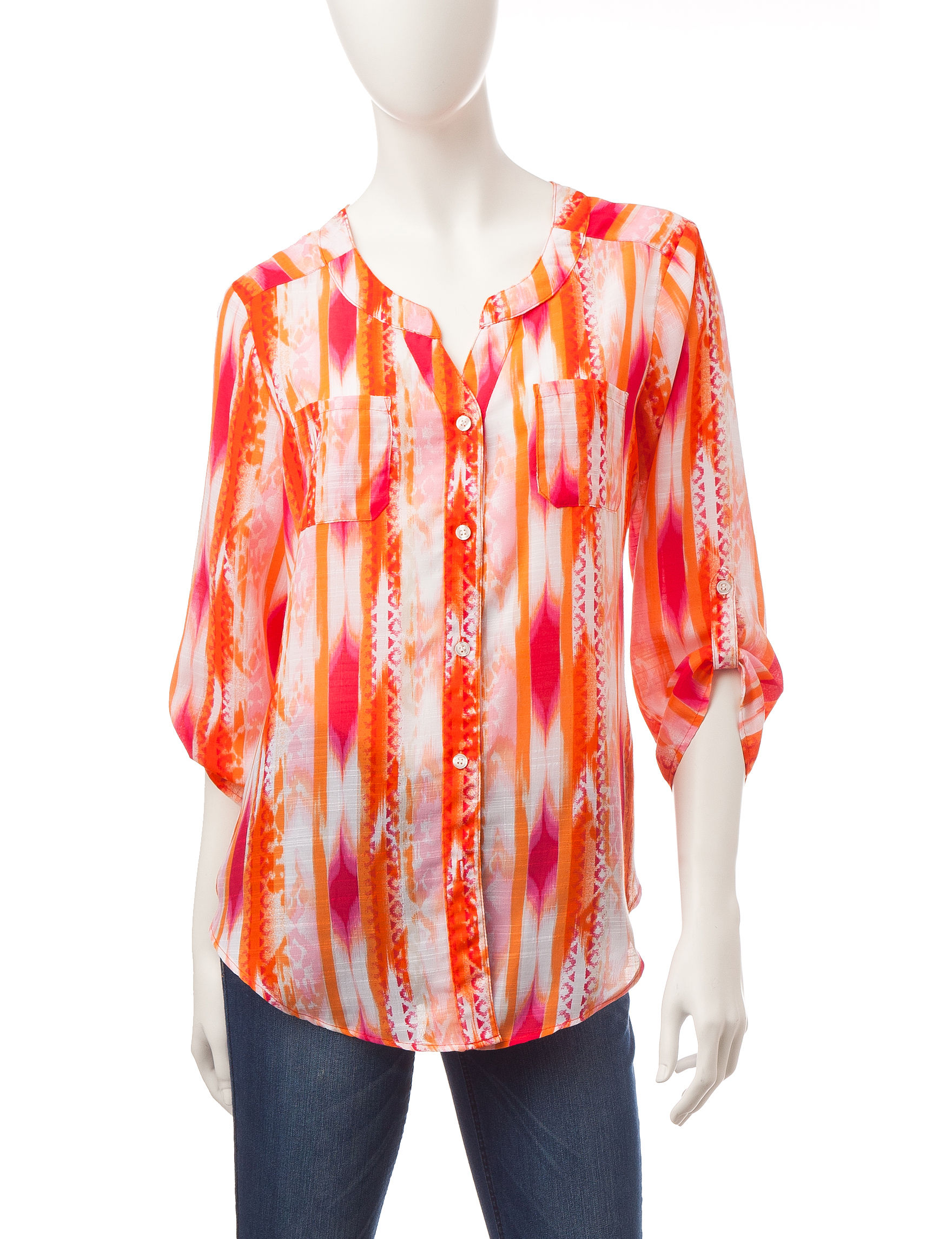 A. Byer White / Orange Shirts & Blouses