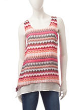 A. Byer Multicolor Striped Layered Top