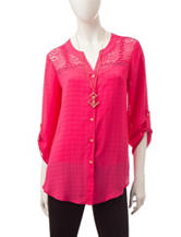 A. Byer Pink Lace Tie Front Top