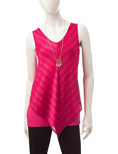 A. Byer Magenta Diagonal Striped Layered-Look Top