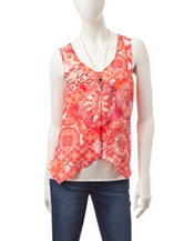 A. Byer Multicolor Abstract Print Popover Top