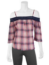 A. Byer Plaid Print Cold-Shoulder Top