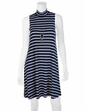 A. Byer Navy & White Striped Dress