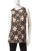 AGB Multicolor Geometric Print Top