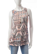 AGB Double Layered Abstract Print Top