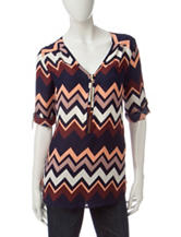 Wishful Park Multicolor Chevron Print Chiffon Top