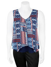 A. Byer Junior-Plus Multicolor Aztec Print Overlay Top with Necklace