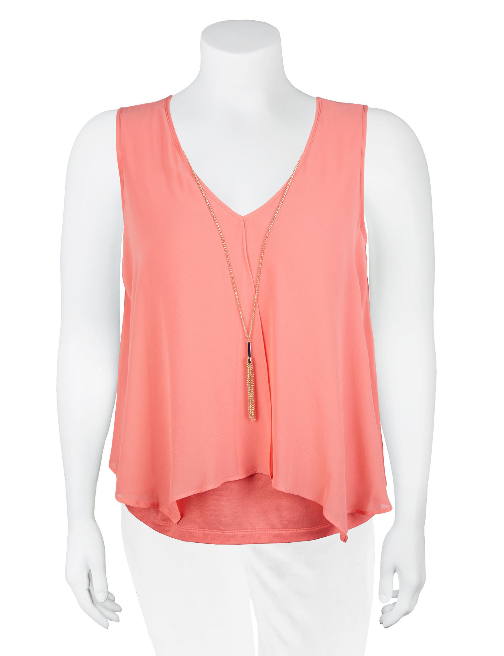 A. Byer Coral Shirts & Blouses