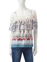 Heart Soul Multicolor Tribal Print Cold Shoulder Top