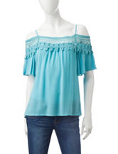 Heart Soul Turquoise Cold Shoulder Top