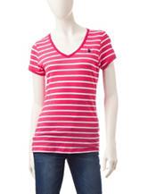 U.S. Polo Assn. Pink & White Striped Print Top