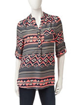 Wishful Park Striped Aztec Print Popover Top