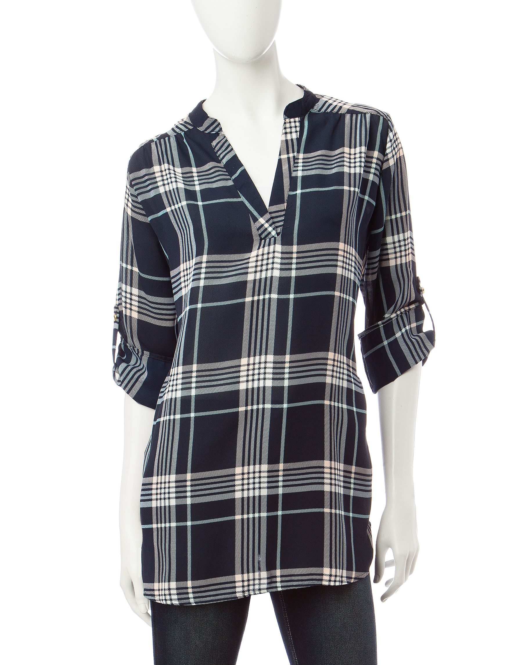 Wishful Park Navy Plaid Shirts & Blouses