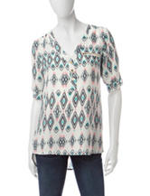 Wishful Park Multicolor Tribal Print Chiffon Top