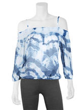 A. Byer Tie Dye Cold-Shoulder Top