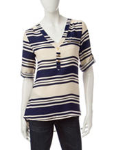 Wishful Park Navy & White Striped Chiffon Top
