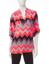 Wishful Park Multicolor Chevron Print Popover Top
