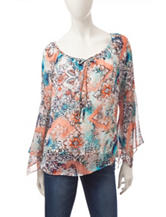 AGB Multicolor Abstract Print Peasant Top
