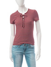Wishful Park Striped Lace Up Top