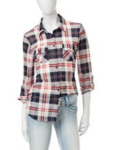Wishful Park Plaid Woven Top