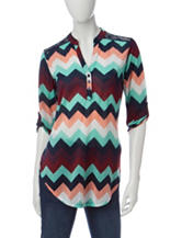 Wishful Park Chevron Print Crochet Back Top