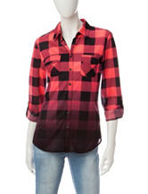 Wishful Park Buffalo Plaid Ombré Knit Top