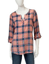 Signature Studio Plaid Print Top