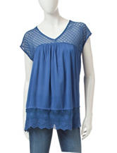 Signature Studio Blue Crochet Top