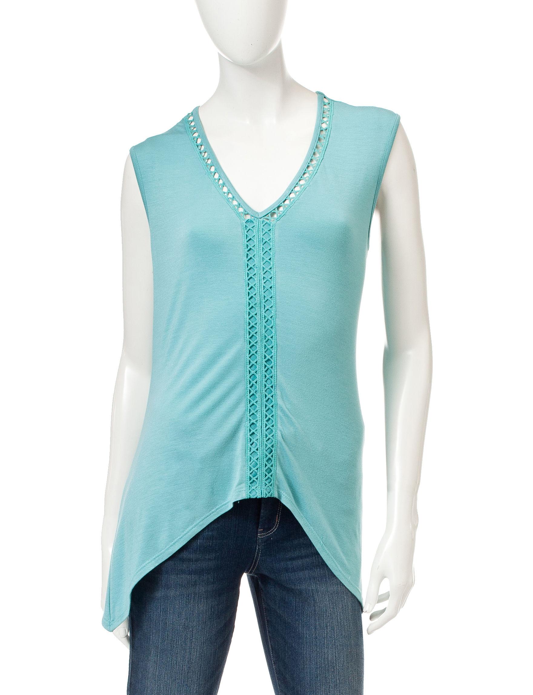 Signature Studio Aqua Shirts & Blouses