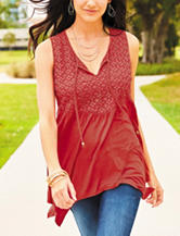 Signature Studio Red Crochet Knit Top