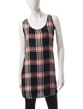 Signature Studio Plaid Print Tank Top