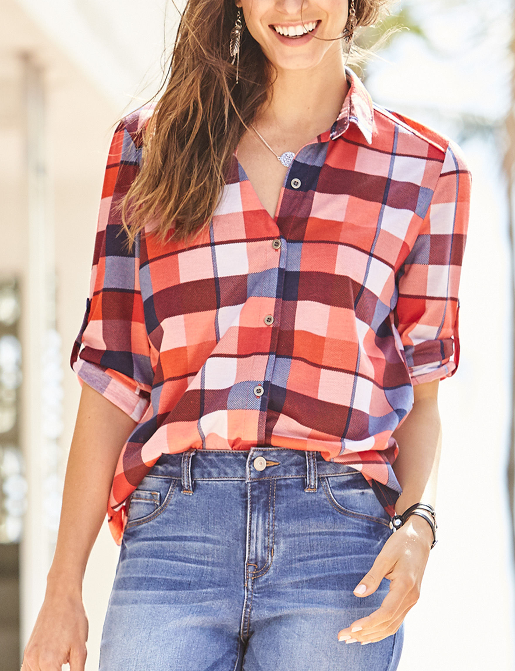 Signature Studio Red Plaid Shirts & Blouses
