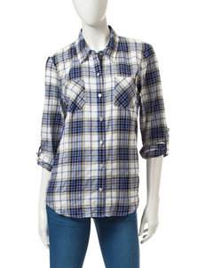 My Michelle White / Blue / Black Casual Button Down Shirts