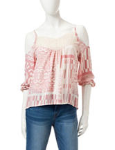 Romeo + Juliet Couture Cold Shoulder Chiffon Top