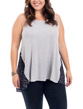 Eyeshadow Juniors-plus Knit-to-Woven Floral Print Top