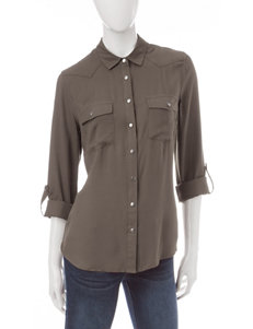 Justify Olive Shirts & Blouses