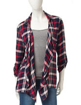 Justify Plaid Crochet Waterfall Cardigan