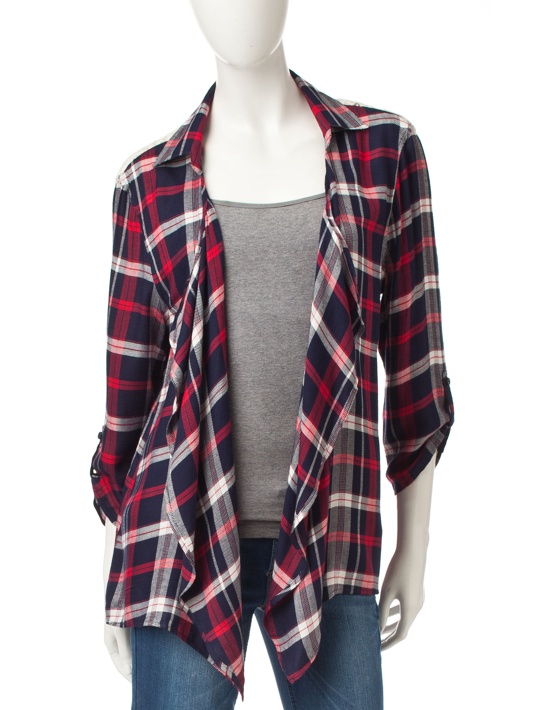 Justify Navy Plaid Shirts & Blouses Sweaters