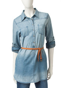 Justify Chambray Belted Tunic Top