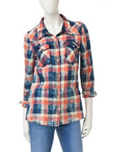 Justify Acid Wash Plaid Print Top