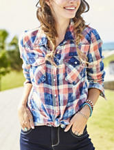 Justify Multicolor Plaid Knit Top
