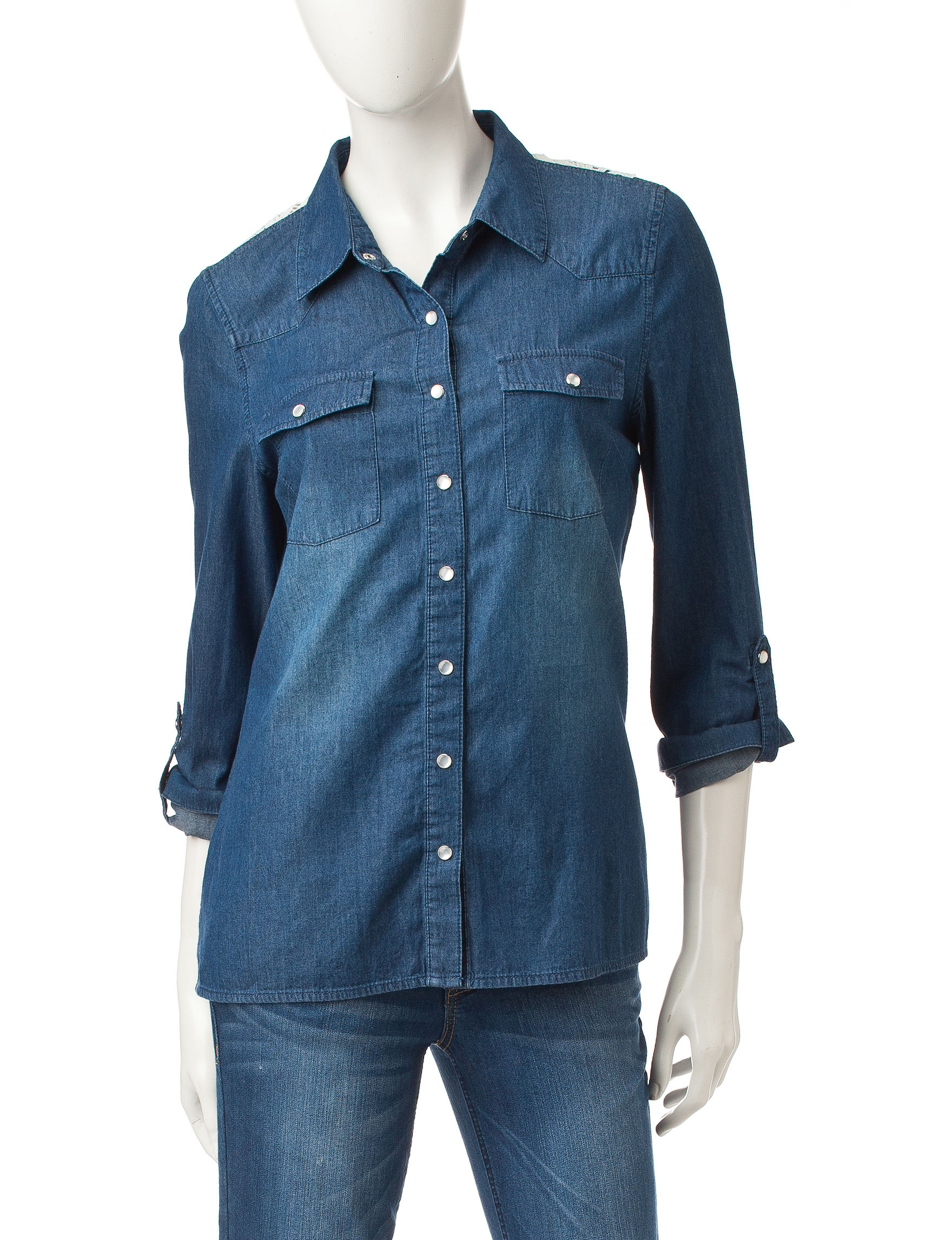 Justify Dark Wash Shirts & Blouses