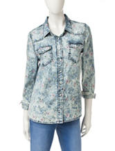 Justify Floral Print Acid Wash Chambray Top