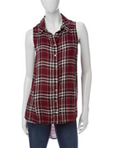 Living Doll Plaid Print Hi-Lo Top